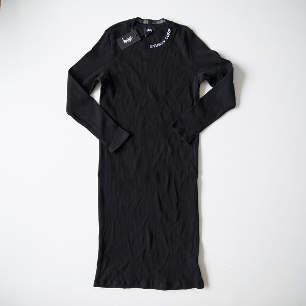 Stussy Womans Temple Long Sleeves Rib Dress Black (Large / NEW)