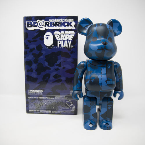 Medicom Toy Bearbrick x Bape Navy Camo 400% Figure (USED)