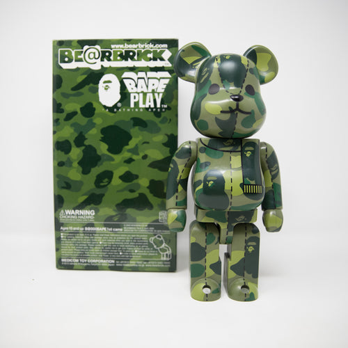 Medicom Toy Bearbrick x Bape Green Camo 400% Figure (USED)