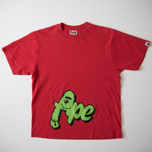 Bape Ape Gorilla Text Tee Red (Medium / USED)