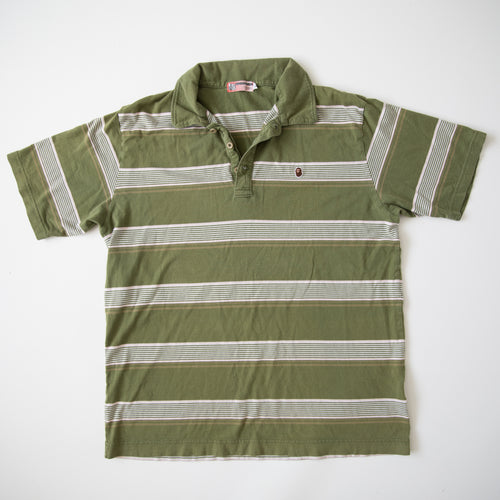Bape Ape Head One Point Striped Polo Shirt Green (Large / USED)