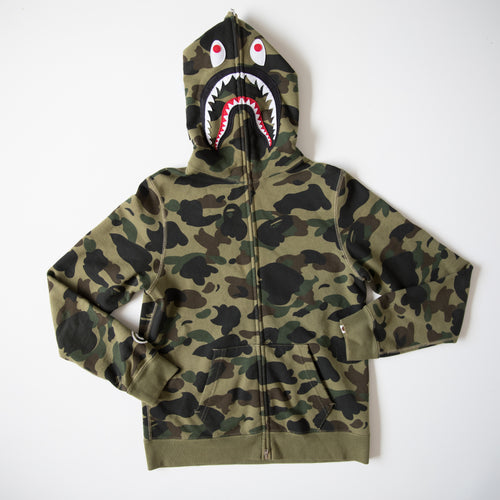 Bape Green Camo Shark Hoodie (Small / USED)
