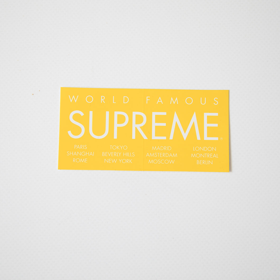 Supreme World Famous Sticker Yellow (MINT)