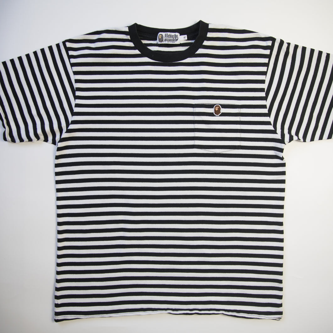 Bape One Point Striped Tee (XL / USED)