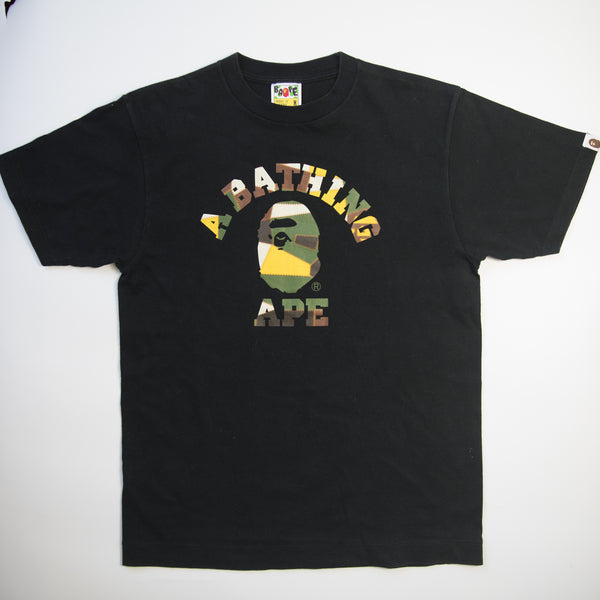 Bape Patchwork College Tee (Medium / USED)