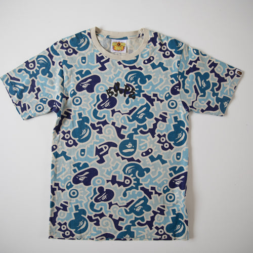 Bape Hieroglyph Blue Camo Tee (Small / USED)