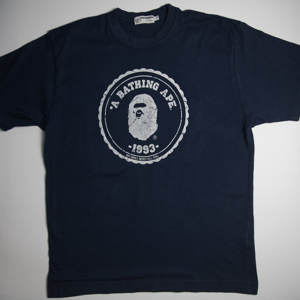 Bape 1993 General Tee Navy (Large / USED)