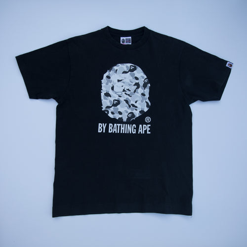 Bape White Camo Ape Head Tee (Medium / USED)