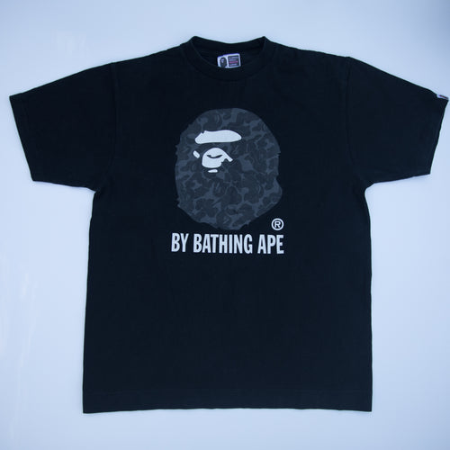 Bape Black Camo Ape Head Tee (Medium / USED)