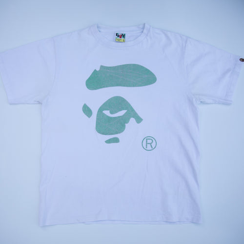 Bape Green Ape Face Tee (Large / USED)