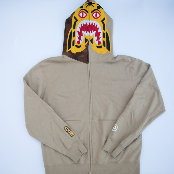 Bape Tiger Shark Hoodie Brown (Medium / USED)
