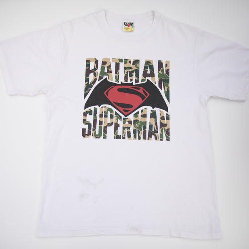 Bape x Batman vs Superman Green Camo Tee (Large / USED)