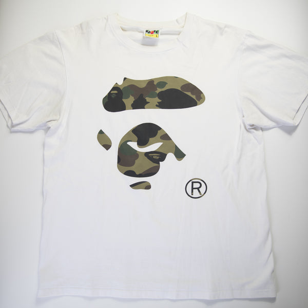 Bape Green Camo Ape Face Tee (Large / USED)