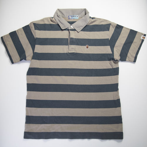 Bape One Point Striped Polo Shirt (Small / USED)