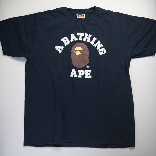 Bape College Tee Navy (Large / USED)