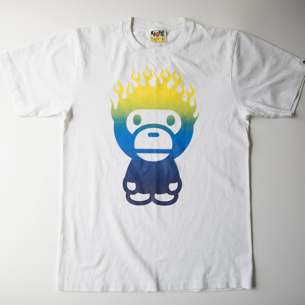 Bape Baby Milo Flame Tee (Small / USED)