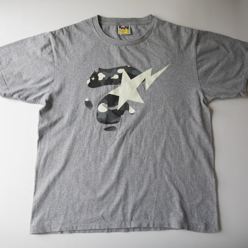 Bape City Camo GITD Ape Face Bapesta Tee (Large / USED)