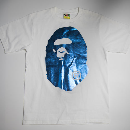 Bape Foil Blue Ape Head Tee (Small / USED)
