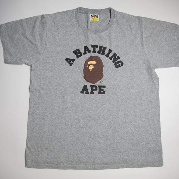 Bape College Tee Grey (Large / USED)