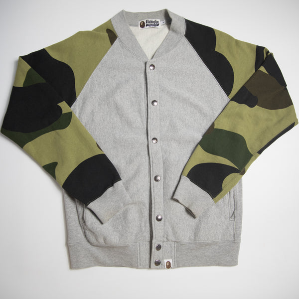Bape Green Camo Sleeve Varsity Jacket (Small / USED)