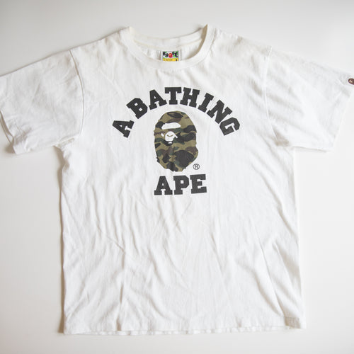 Bape Green Camo College Tee (Small / USED)