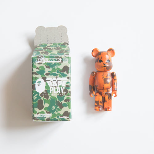Medicom Toy BEARBRICK x Bape Orange Flame Camo 100% Figure (MINT)