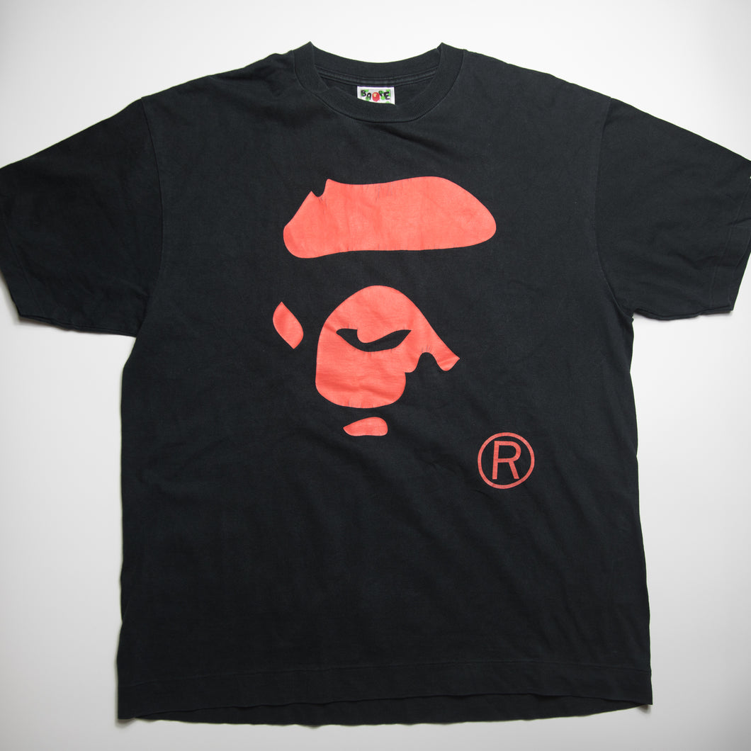 Bape Red Ape Face Tee (Large / USED)