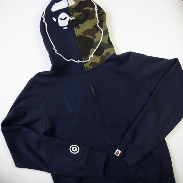 Bape Ape Head Camo Full Zip Hoodie (Medium / MINT)