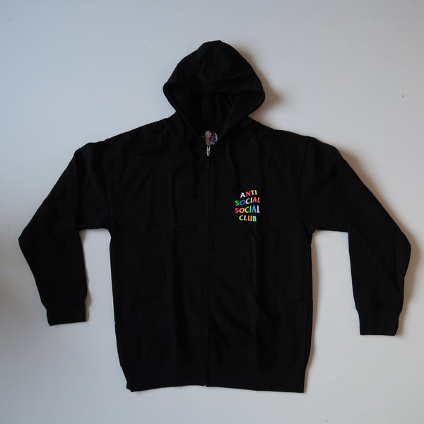 Anti Social Social Club Rainbow Zip Up Hoodie (Large / NEW)