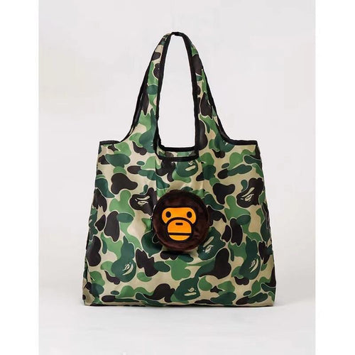 Bape Green Camo Foldable Tote Bag + Plush (MINT)
