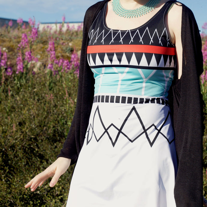 MODERN KAKINNIIT FLARE DRESS