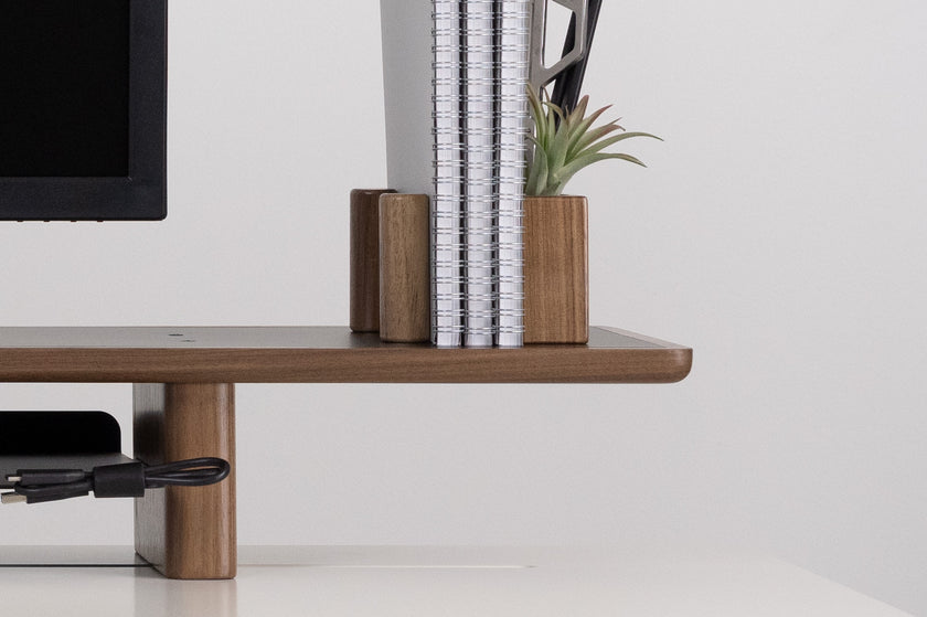 Walnut Lift with Monitor, Bands, Pegs, Notebooks, Plants - ARTIFOX
