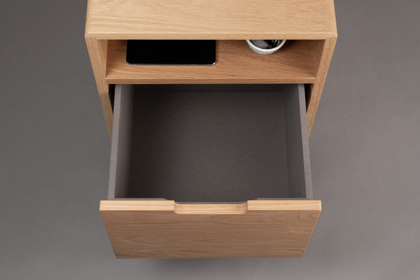 White Oak Side Table, Drawer, iPad, Storage - ARTIFOX