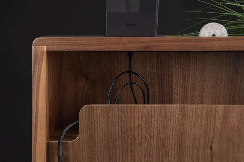 Walnut Side Table, Cable Management, Phone, Knot  - ARTIFOX