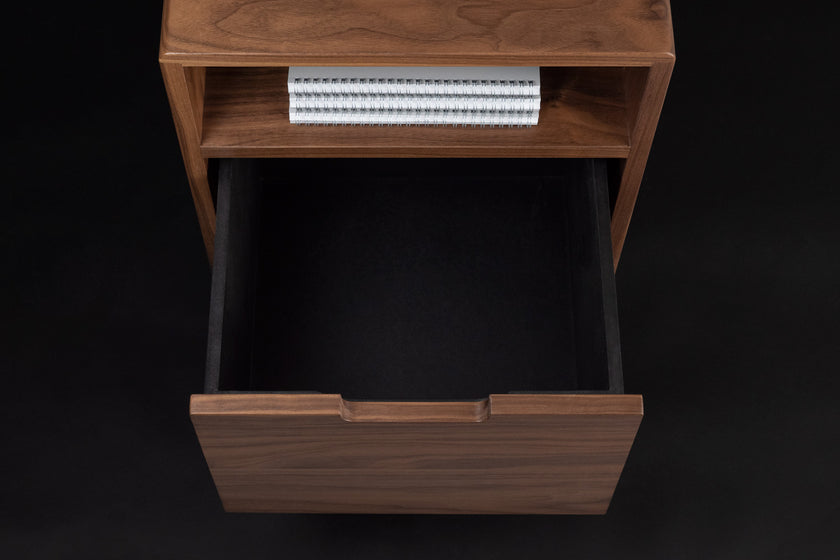 Walnut Side Table, Drawer, Notebooks, Storage - ARTIFOX