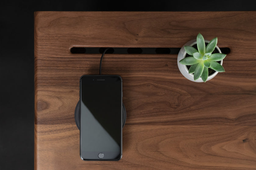 Walnut Side Table, Wireless charger, Plants - ARTIFOX