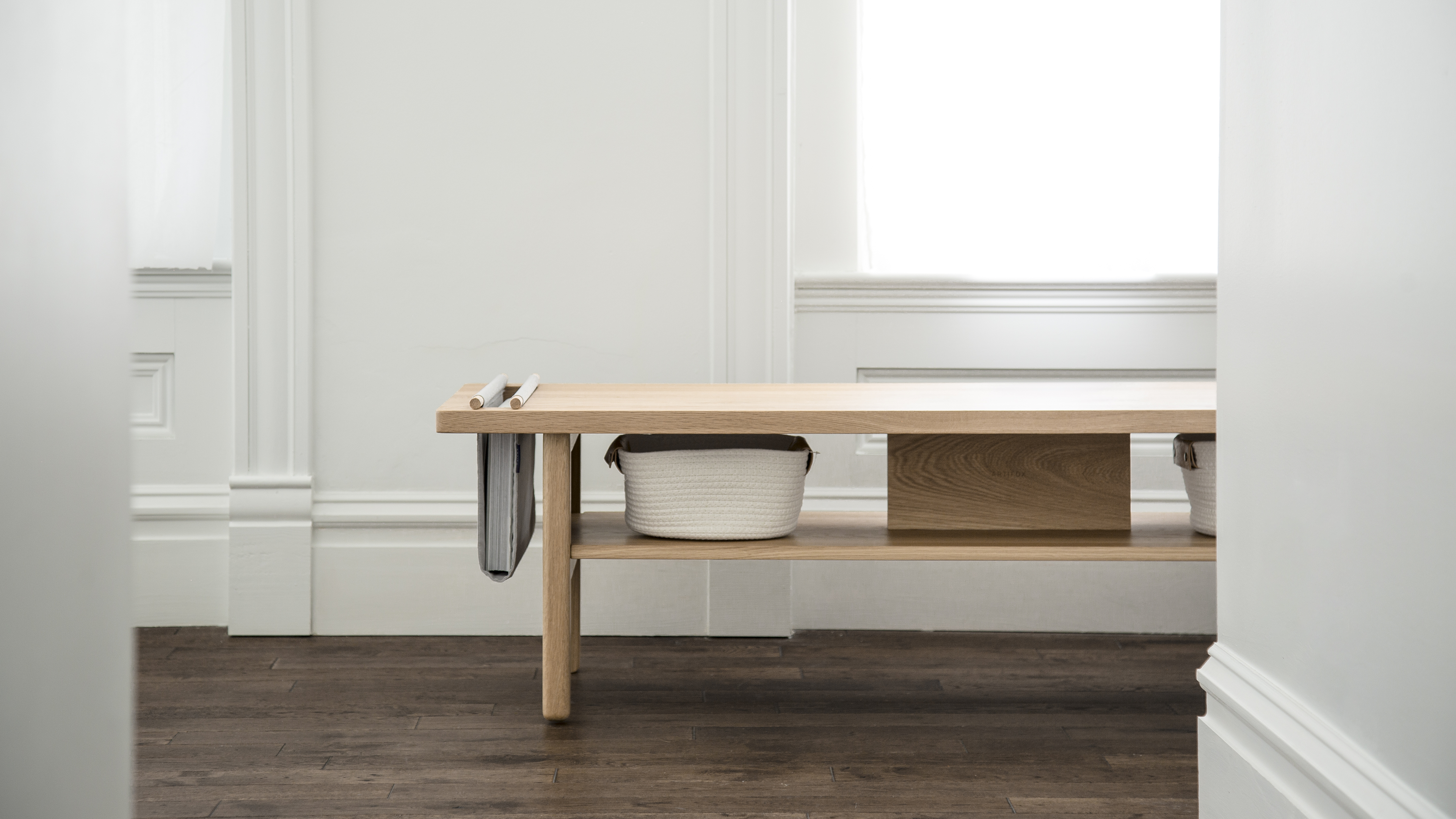 White Oak bench media console, seating and storage