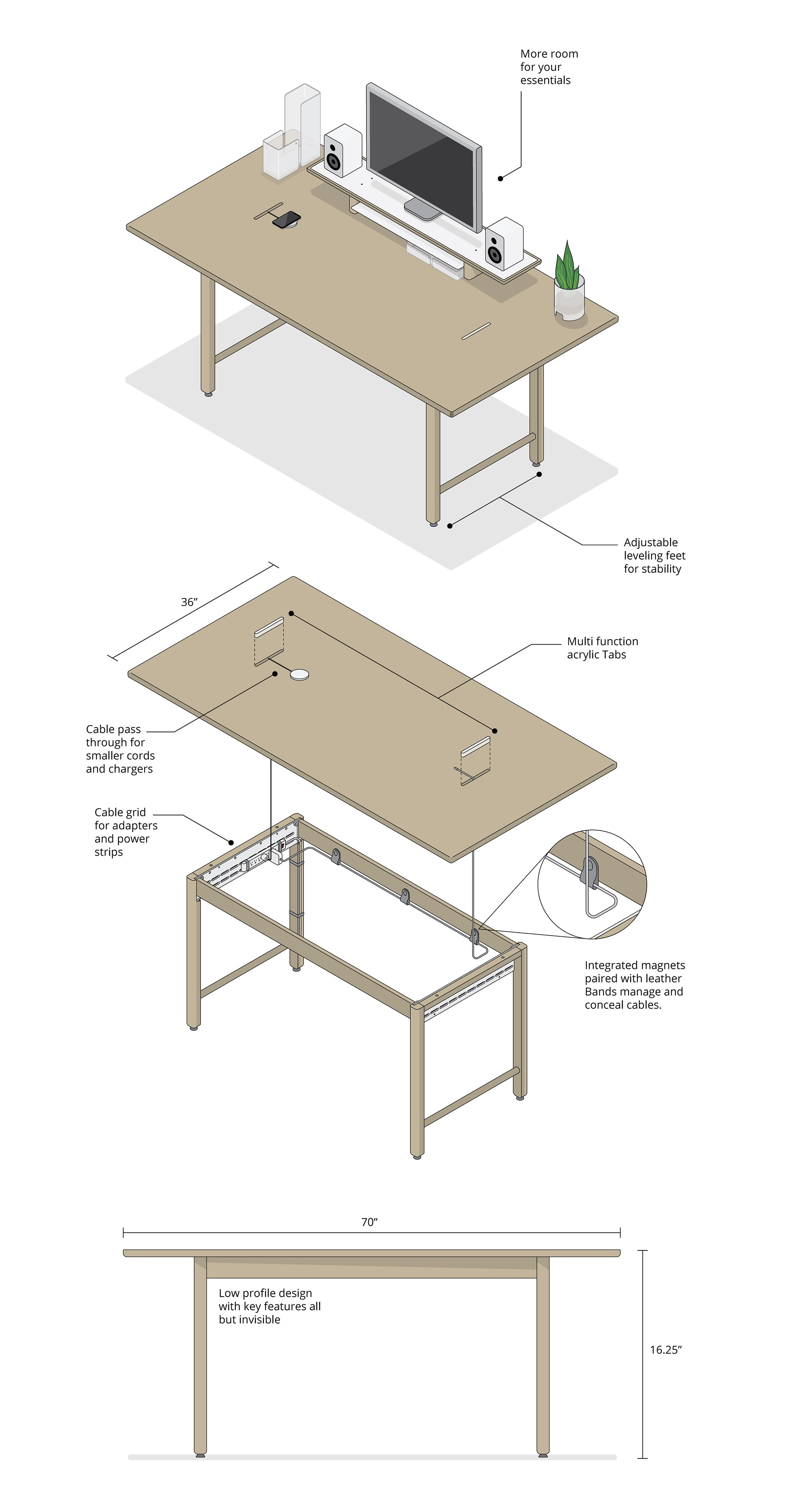 Modern table for working, eating or meeting
