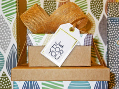 15 Perfect Gifts to get a Dog Lover | A bright and dark gift box with a light colored bow on top| Bubu Brands