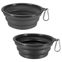 Two dark colored dog water bowls with light colored clips attached to them | Bubu Brands