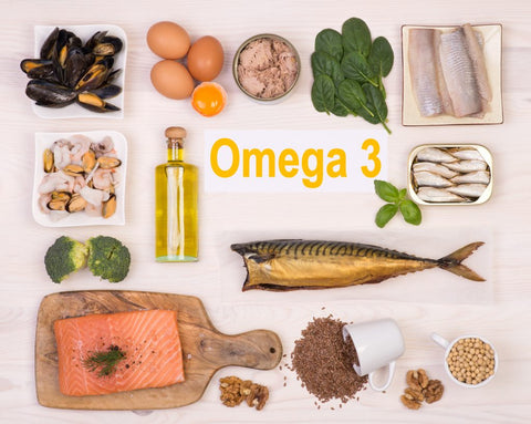 Different Omega-3 containing oil supplements against a white background