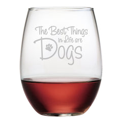 15 Perfect Gifts to get a Dog Lover | A clear glass with dark wine glass that says the best things in life are dogs | Bubu Brands