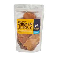 A bag of chicken jerky with a bright label on it saying chicken jerky bubu brands | Bubu Brands