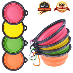 Four bright collapsible dog bowls with links attached to them | Bubu Brands