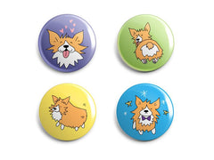 4 multi-colored magnets all with different images of a cartoon corgi