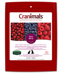 A bright bag with blueberries, cranberries, and raspberries on the cover called cranimals | Bubu Brands