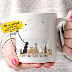 15 Perfect Gifts to get a Dog Lover | White mug with 5 different cartoon dogs all facing away from the camera looking out at the water | Bubu Brands
