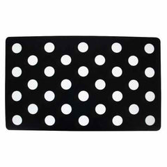 A dark dog feeding mat with light colored polka dots | Bubu Brands