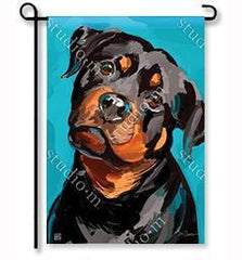 15 Perfect Gifts to get a Dog Lover | Dark colored flag with a dark colored rottweiler face  with its head tilted to the side | Bubu Brands