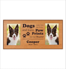"15 perfect gifts to get a dog lover | Custom Dog Photo Frame, ""Dogs come into our lives and leave footprints on our hearts"" In Memory Dog 4 x 6 Picture Frame, Double Dog Frame"